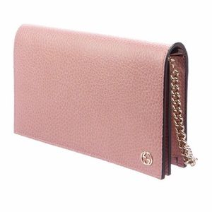 GUCCI Leather Pink Crossbody Bag Wallet on Chain
